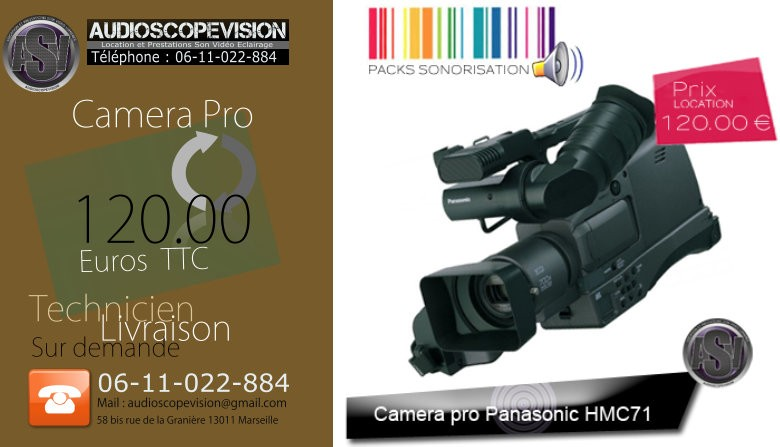 Location camera pro panasonic, Marseille, aubagne, la ciotat, cassis, 13